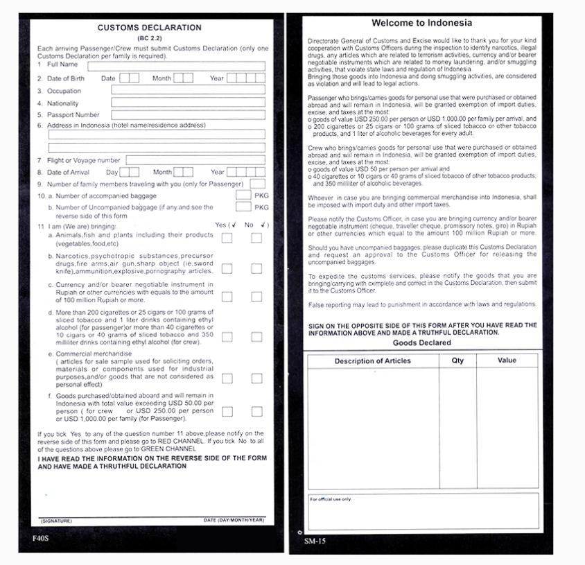 Form Deklarasi Bea Cukai 2