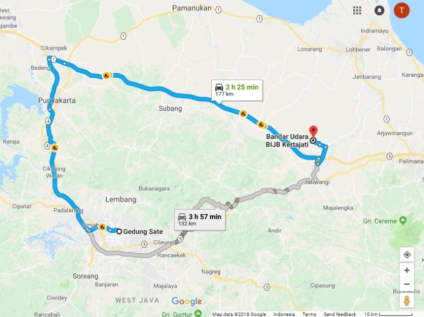 Bandung to Kertajati Route Map (2)