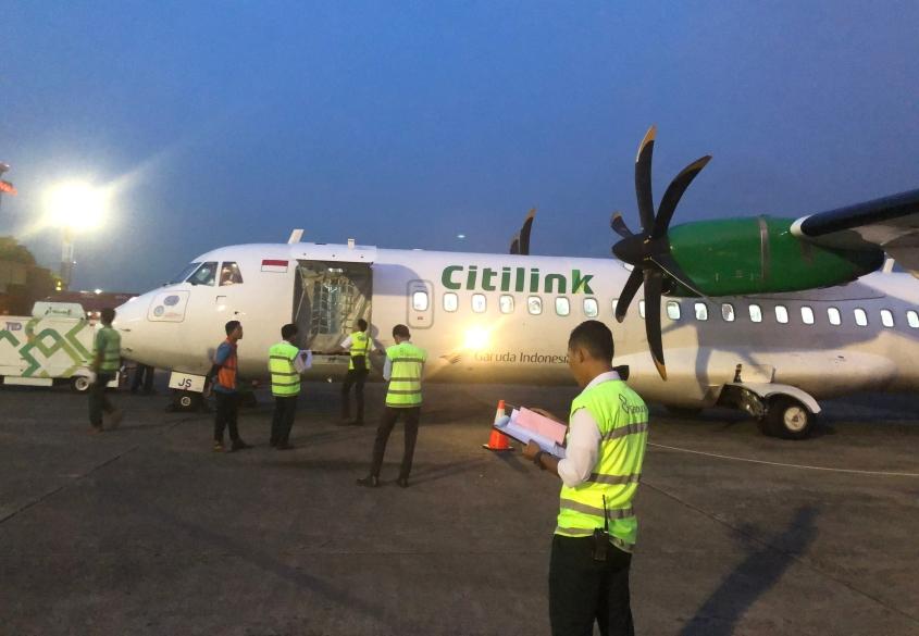 ATR72 Citilink setelah mendarat di Halim